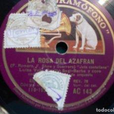 Discos de pizarra: DISCO DE PIZARRA LA ROSA DEL AZAFRÁN F ROMERO ROMANZA DE SAGRARIO LUISA VELA. Lote 94107800