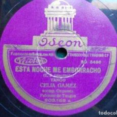 Discos de pizarra: DISCO DE PIZARRA EL CARRERITO TANGO CELIA GAMEZ. Lote 94378166