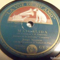 Discos de pizarra: JORGE NEGRETE DE LAS PELICULAS CANAIMA / ME HE DE COMER ESA TUNA MAIGALIDA / Y DICEN POR AHI. Lote 95935699