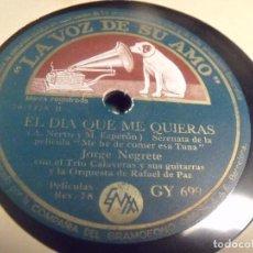 Discos de pizarra: JORGE NEGRETE DE LA PELICULA ME HE DE COMER ESA TUNA EL CHARRO MEJICANO / EL DIA QUE ME QUIERAS. Lote 95936279