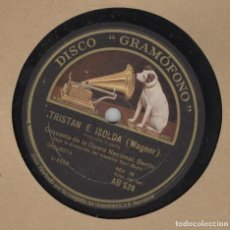 Discos para gramofone: DISCO PIZARRA. TRISTAN E ISOLDA. OPERA DE BERLIN.. GRAMOFONO LA VOZ DE SU AMO.. Lote 97711127