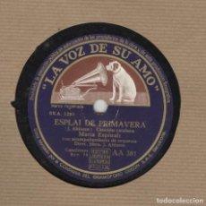Discos de pizarra: DISCO PIZARRA. LA VOZ DE SU AMO. MARIA ESPINALT. ESPLAI DE PRIMAVERA. CANÇÓ DE BREÇOL.. Lote 97721471