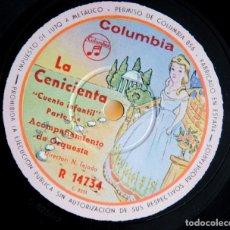Discos de pizarra: LA CENICIENTA - CUENTO INFANTIL EN 2 DISCOS DE PIZARRA - COLUMBIA. Lote 98647123