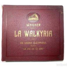 Discos de pizarra: LA WALKYRIA (RICHARD WAGNER) ESTUCHE CON 14 DISCOS DE PIZARRA, LA VOZ DE SU AMO, COMPLETA. Lote 98778067