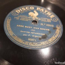 Discos de pizarra: DISCO DE PIZARRA CANTOS ASTURIANOS FERNANDO ARGANZA. Lote 99781223