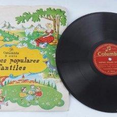 Discos de pizarra: DISCO DE PIZARRA DE CANCIONES POPULARES INFANTILES, ED. COLUMBIA R 18834, VAMOS A CONTAR MENTIRAS / . Lote 101432283
