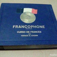 Discos de pizarra: FRANCOPHONE. CURSO DE FRANCÉS POR HORACE S. CHOWN (ALBUM 15 DISCOS PIZARRA PARA GRAMÓFONO). Lote 103069911
