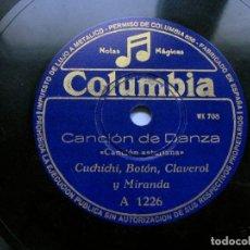 Discos de pizarra: 78 RPM. ASTURIAS. CANCION DANZA / DICEN QUE NO NOS QUEREMOS. CUCHICHI, BOTÓN, CLAVEROL Y MIRANDA. . Lote 103143851