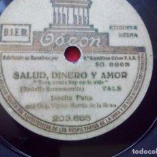 Discos de pizarra: DISCO PIZARRA INESITA PENA SALUD DINERO Y AMOR CAMILLERO TANGO ODEON 203665. Lote 103470543