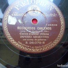 Discos de pizarra: DISCO PIZARRA IMPERIO ARGENTINA GUITARRA MIA TANGO RECUERDOS CHILENOS PARLPHON 26079 . Lote 103474603