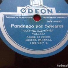 Discos de pizarra: DISCO PIZARRA VALLEJO OLAS DEL MAR BRAVIO TRISTE LA MARINERIA TARANTAS FANDANGOS ODEON 182167 . Lote 103475843