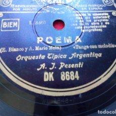 Discos de pizarra: DISCO PIZARRA ORQUESTA TIPICA ARGENTINA TAHITI POEMA REGAL DK8684 . Lote 103485483