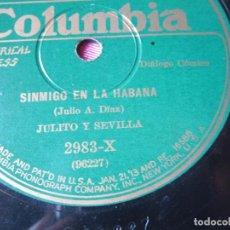 Discos de pizarra: MARAÑON AL BATE Y SINMIGO EN LA CAMA DIALOGO COMICO JULITO Y SEVILLA DISCO PIZARRA.RARO. BUENO. Lote 103826375