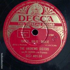 Discos de pizarra: DISCO DE PIZARRA DECCA 78 RPM ANDREWS SISTERS.LA CANCIÓN DE BROADWAY. Lote 105074686