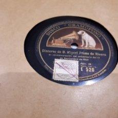 Discos de pizarra: MIGUEL PRIMO DE RIVERA DISCO DE PIZARRA. Lote 105723027