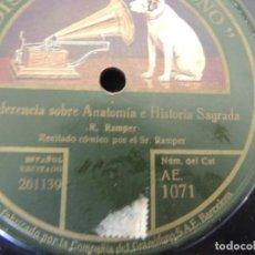 Discos de pizarra: CONFERENCIA SOBRE ANATOMIA Y HAY QUE AGARRARSE. Lote 106238635