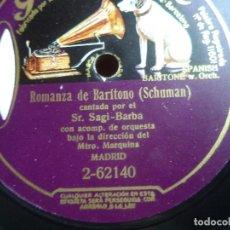 Discos de pizarra: ANTIGUO DISCO DE PIZARRA DOS CARAS CANTADO POR SAGI-BARBA , NAZARETH Y ROMANZA SELLADO , ORIGINAL. Lote 109065527