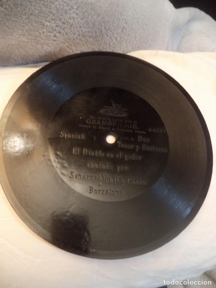 DISCO DE PRINCIPIOS DEL SIGLO XX UNA CARA .EL DIABLO EN EL PODER CANTADO POR MONTE Y CASAS (Música - Discos - Pizarra - Clásica, Ópera, Zarzuela y Marchas)