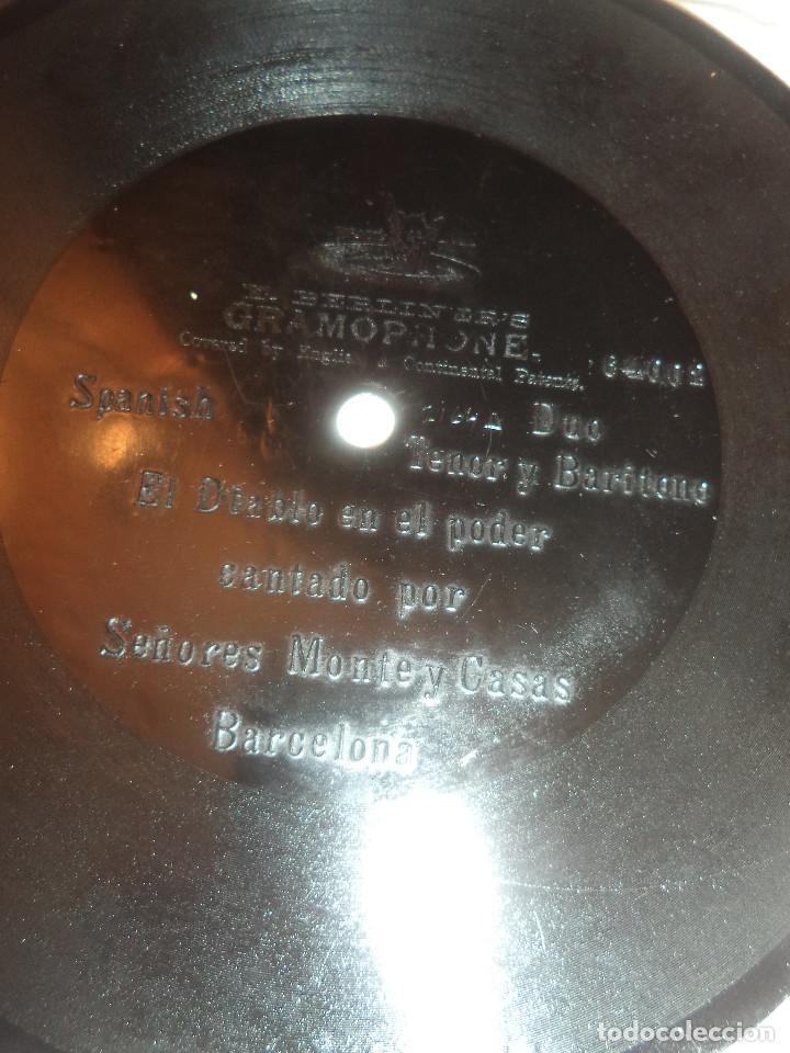Discos de pizarra: DISCO DE PRINCIPIOS DEL SIGLO XX UNA CARA .EL DIABLO EN EL PODER CANTADO POR MONTE Y CASAS - Foto 7 - 109127079
