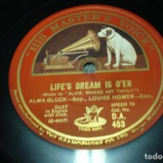 Discos de pizarra: ALMA GLUCK LIFE´SDREAM IS OVER -BELLE NUIT. Lote 109178699