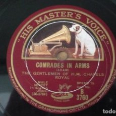 Discos de pizarra: HAIL ,SMILING MORN-COMRADES IN ARMS POR THE GENTHELMEN OF H,M CHAFELS ROYAL. Lote 109276987