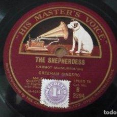 Discos de pizarra: THE SHEPHERDESS -THE MEETING OF THE WATERS POR GRESHAM SINGERS. Lote 109277463