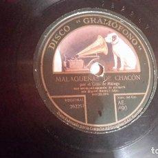 Discos de pizarra: EL COJO DE MÁLAGA - MALAGUEÑAS DE CHACÓN Y CARTAGENERAS AE490. Lote 111530611