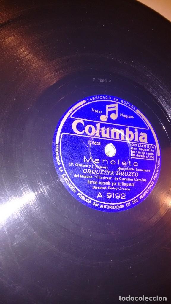 DISCO PIZARRA. MANOLETE. JAZMINERA CORDOBESA. ORQUESTA OROZCO. COLUMBIA (Música - Discos - Pizarra - Flamenco, Canción española y Cuplé)