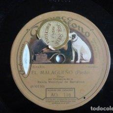 Discos de pizarra: EL MALAGUEÑO, TANGO / FASCINATION, VALS BOSTON - LA VOZ DE SU AMO AG116. Lote 113205027