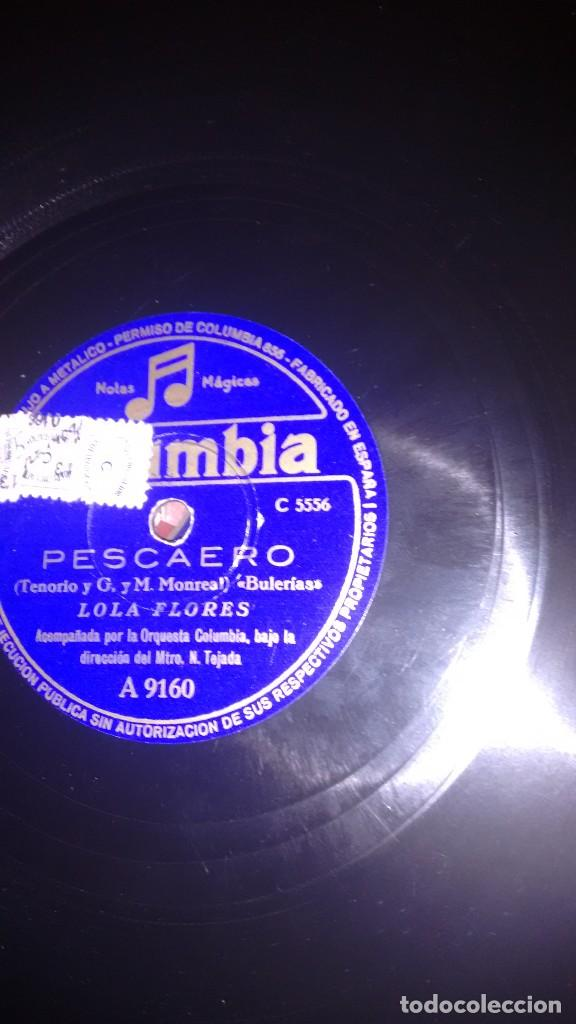 DISCO PIZARRA. PESCAERO. LOLA FLORES.COLUMBIA (Música - Discos - Pizarra - Flamenco, Canción española y Cuplé)