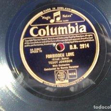 Discos de pizarra: TEDDY JOHNSON - FORBIDDEN LOVE + LOVES ROUNDABOUT (COLUMBIA, 1951) MAGIC NOTES DB 2914 . Lote 114416795