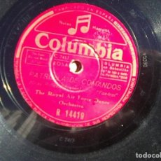 Discos de pizarra: ROYAL AIR FORCE DANCE ORCHESTRA - COW-COW BOOGIE + PATRULLA DE COMANDOS (PHILIPS, 1943) R 14419. Lote 114417287