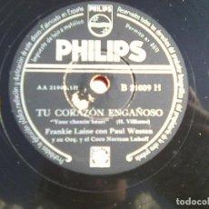 Discos de pizarra: FRANKIE LAINE CON PAUL WESTON - TU CORAZON ENGAÑOSO + YO CREO (PHILIPS, 1954 ) B 21009 H. Lote 114417811