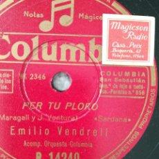 Discos de pizarra: PER TU PLORO. EMILIO VEDRELL. Lote 115170799