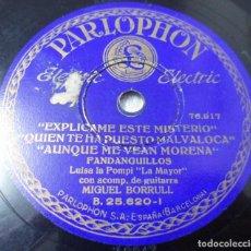 Discos de pizarra: DISCO DE PIZARRA FLAMENCO. LUISA LA POMPI. FANDANGUILLOS /FIESTA JEREZANA. GUITARRA: BORRULL. Lote 115241487