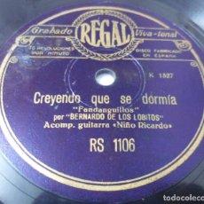 Discos de pizarra: DISCO DE PIZARRA DE FLAMENCO BERNARDO DE LOS LOBITOS GUAJIRAS /FANDANGUILLOS. GUITARRA: NIÑO RICARDO. Lote 115327559