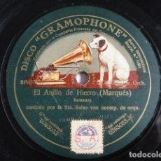 Discos de pizarra: SALAS, SALCEDO, VERCHER - EL ANILLO DE HIERRO (MARQUÉS) - GRAMOPHONE: 0263033. Lote 116066735