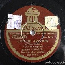 Discos de pizarra: EMILI VENDRELL - LOS DE ARAGÓN / AGÜITA QUE VAS AL MAR - ODEON: 121.001. Lote 116212587