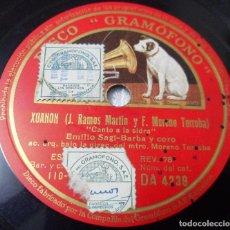 Discos de pizarra: CANTO A LA SIDRA. ASTURIAS DISCO DE PIZARRA DE LA ZARZUELA XUANON. SAGI-BARBA. DIRIGE:MORENO TORROBA. Lote 116289699