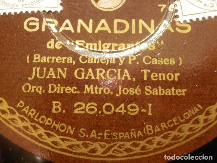 DISCO DE PIZARRA - TENOR JUAN GARCÍA -ACOMPAÑA GUITARRA PIANO -GRANADINAS, ESPERÉ - PARLOPHON 26.049 (Música - Discos - Pizarra - Clásica, Ópera, Zarzuela y Marchas)