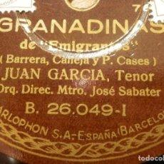 Discos de pizarra: DISCO DE PIZARRA - TENOR JUAN GARCÍA -ACOMPAÑA GUITARRA PIANO -GRANADINAS, ESPERÉ - PARLOPHON 26.049. Lote 116710447