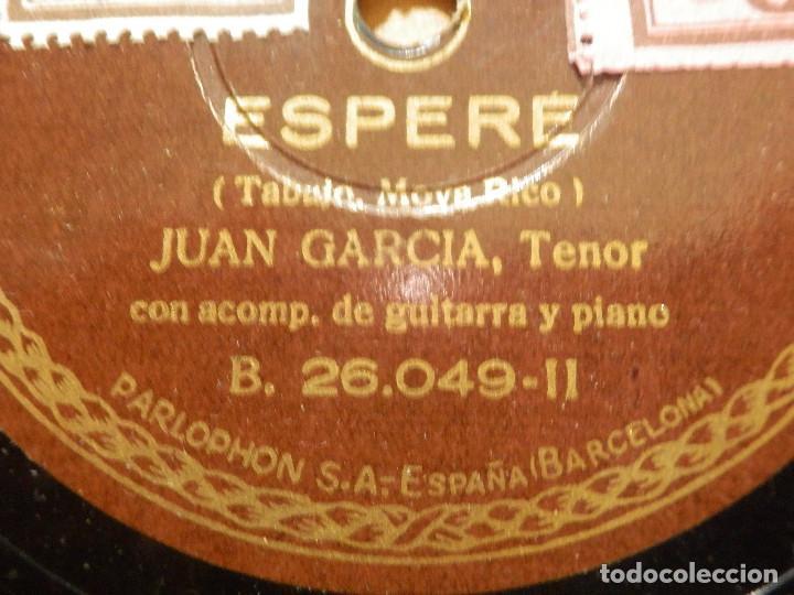 Discos de pizarra: Disco de Pizarra - Tenor Juan García -Acompaña Guitarra Piano -Granadinas, Esperé - Parlophon 26.049 - Foto 2 - 116710447
