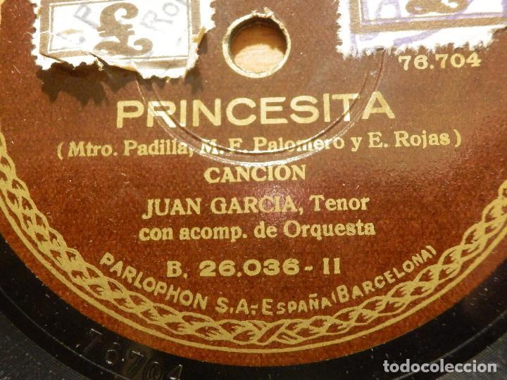 DISCO DE PIZARRA - TENOR JUAN GARCÍA - ACOMPAÑA PIANO - PRINCESITA, AY, AY AY - PARLOPHON 26.036 (Música - Discos - Pizarra - Clásica, Ópera, Zarzuela y Marchas)