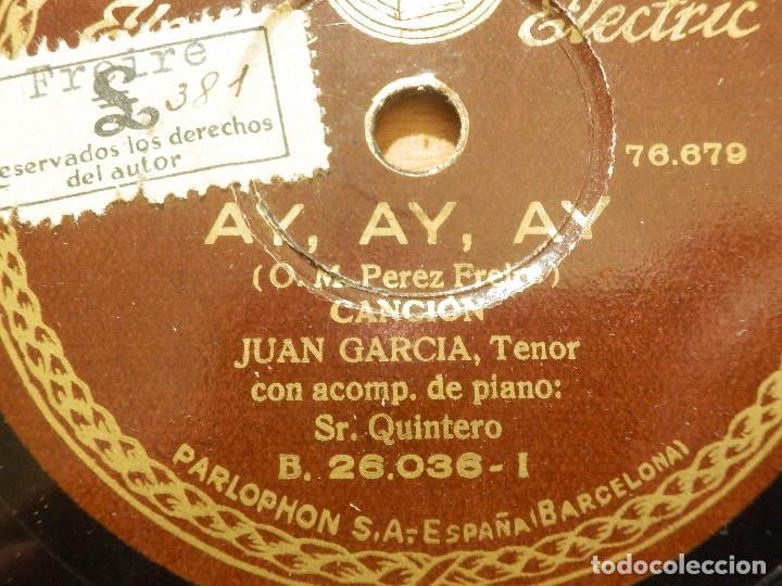 Discos de pizarra: Disco de Pizarra - Tenor Juan García - Acompaña Piano - Princesita, Ay, Ay Ay - Parlophon 26.036 - Foto 2 - 116711031