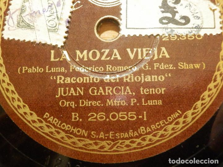 DISCO DE PIZARRA - TENOR JUAN GARCÍA - PREGON Y RACONTO DEL RIOJANO- LA MOZA VIEJA- PARLOPHON 26.055 (Música - Discos - Pizarra - Clásica, Ópera, Zarzuela y Marchas)