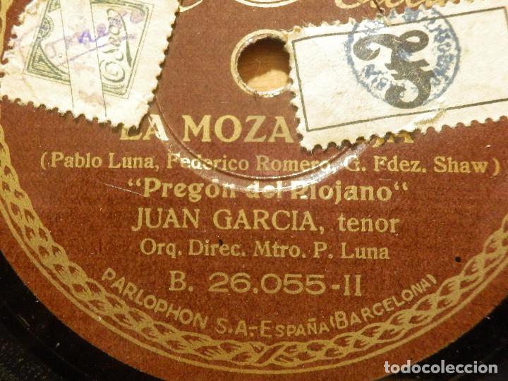 Discos de pizarra: Disco de Pizarra - Tenor Juan García - Pregon y Raconto del Riojano- La Moza Vieja- Parlophon 26.055 - Foto 2 - 116711631