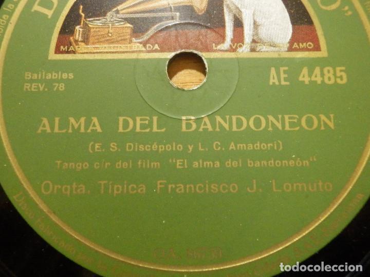 DISCO DE PIZARRA - BANDA SONORA EL ALMA DEL BANDONEON - ORQ. FRANCISCO J LOMUTO -GRAMÓFONO 86.739 (Música - Discos - Pizarra - Bandas Sonoras y Actores )
