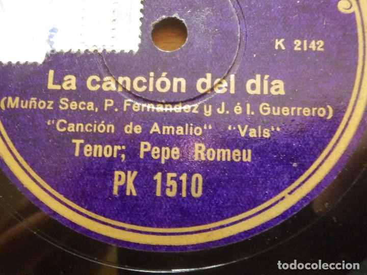 DISCO DE PIZARRA - TENOR PEPE ROMEU - LA CANCIÓN DEL DÍA - AMALIO, ESTRELLA - REGAL PK 15 0 (Música - Discos - Pizarra - Clásica, Ópera, Zarzuela y Marchas)