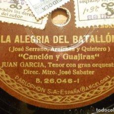 Discos de pizarra: DISCO PIZARRA -TENOR JUAN GARCÍA, EL TRUST DE LOS TENORIOS, LA ALEGRÍA DEL BATALLON PARLOPHON 26.046. Lote 116716495