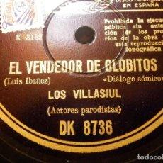 Discos de pizarra: DISCO PIZARRA -LOS VILLASIUL,EL VENDEDOR DE GLOBITOS EL PRECIO DEL PORVENIR PRIMER HUMORISTA ESPAÑOL. Lote 116843631